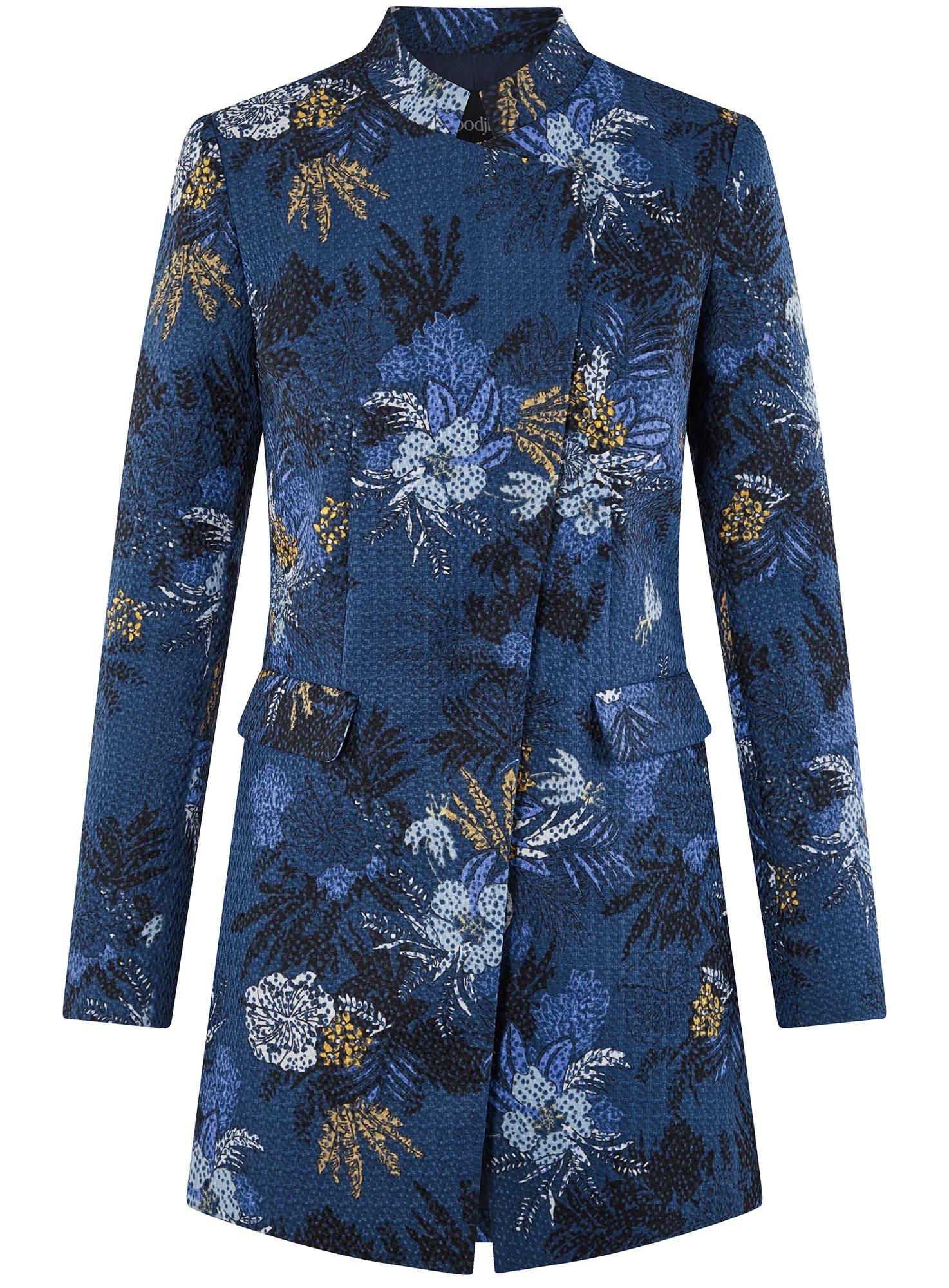 Пальто приталенное с косой застежкой oodji для женщины (синий), 10104044/45367/7933F