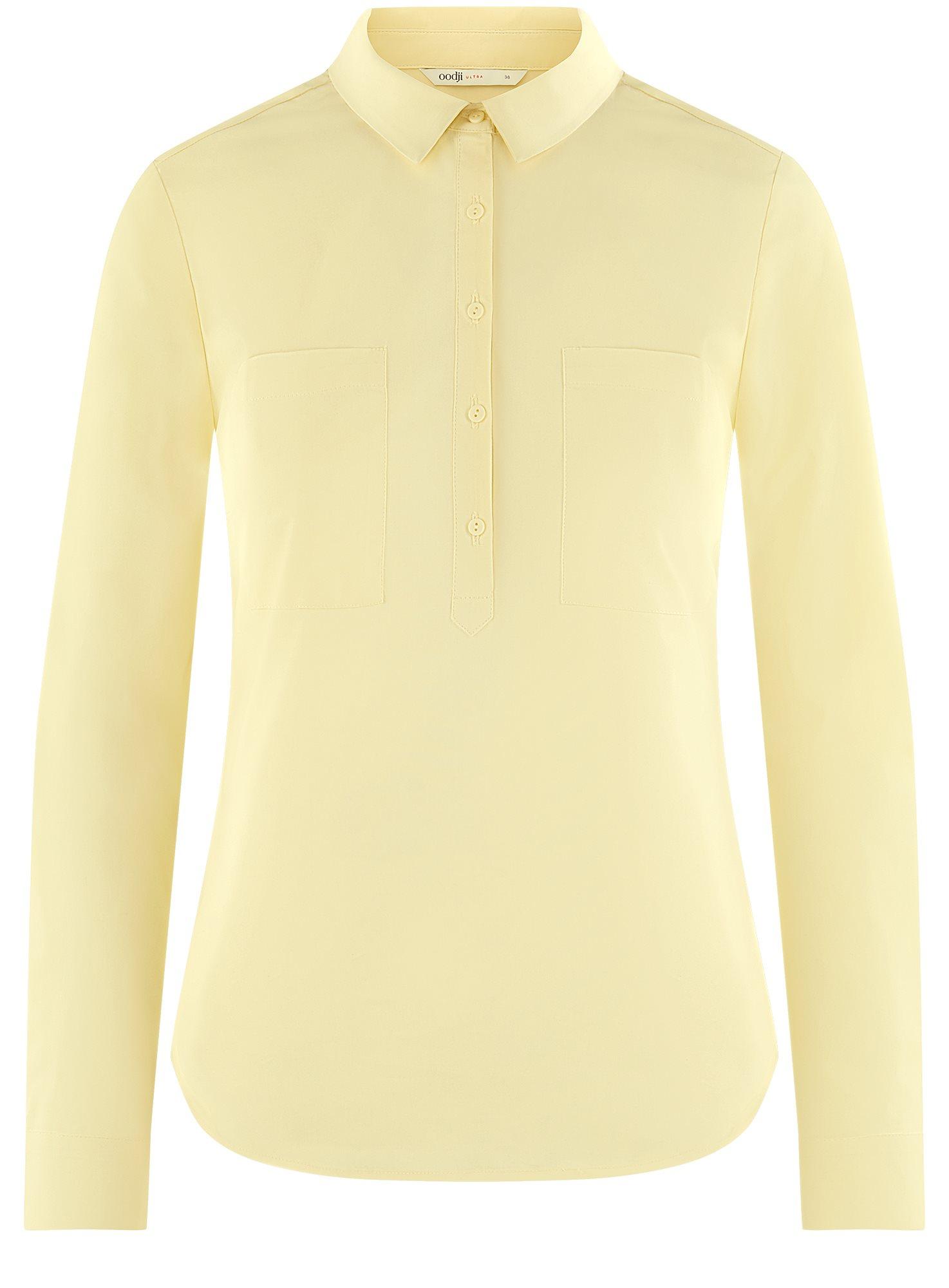 Рубашка базовая с нагрудными карманами oodji для женщины (желтый), 11403222B/42468/5000N