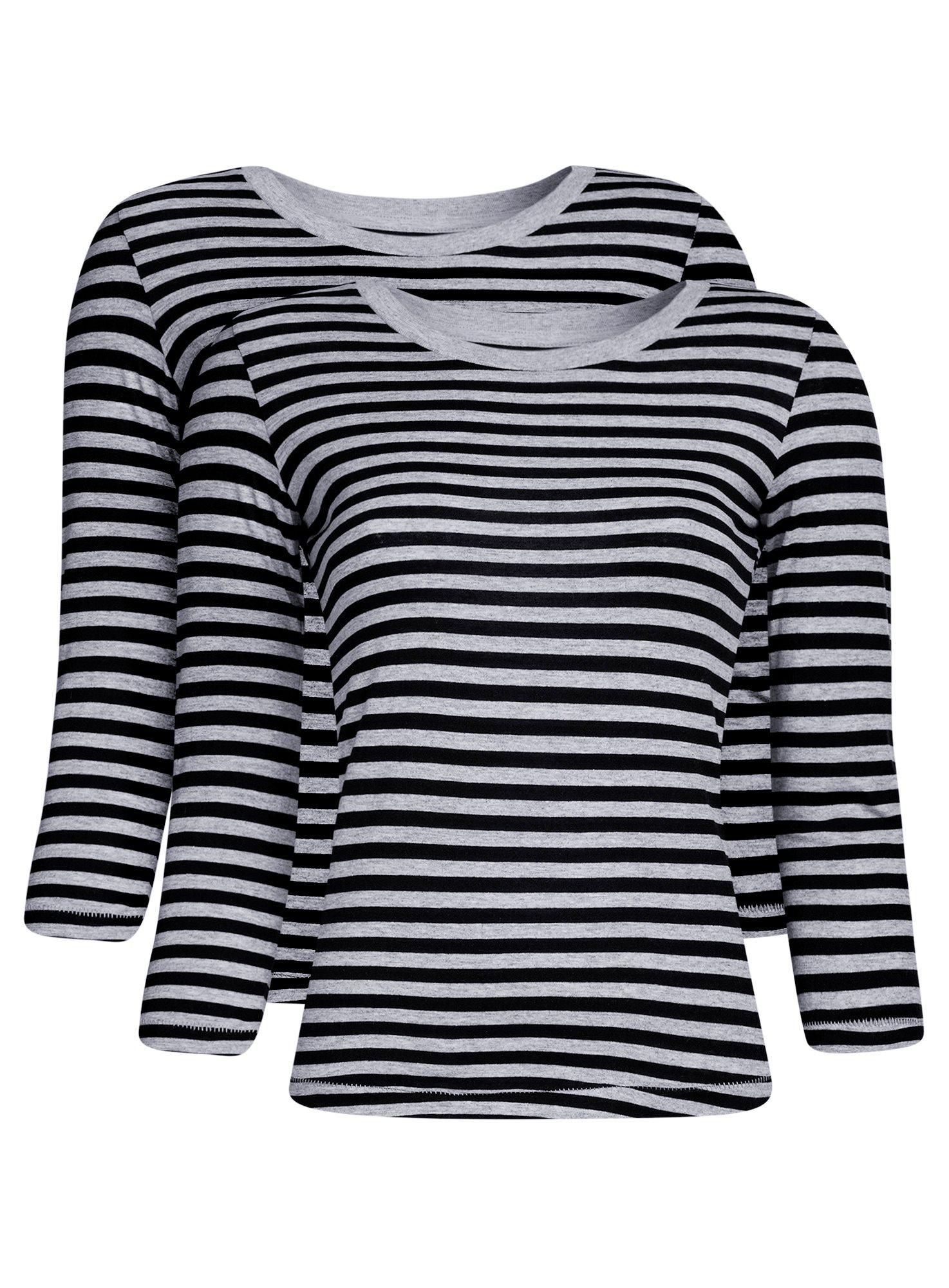 Комплект футболок с длинным рукавом (2 штуки) oodji для женщины (серый), 14201005T2/46158/2029S