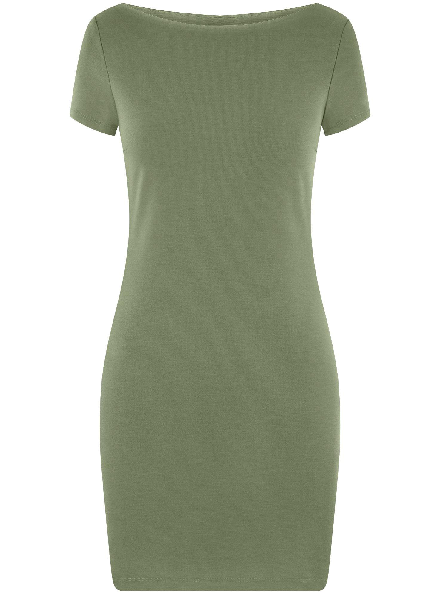 Платье трикотажное с вырезом-лодочкой oodji для женщины (зеленый), 14001117-2B/16564/6200N