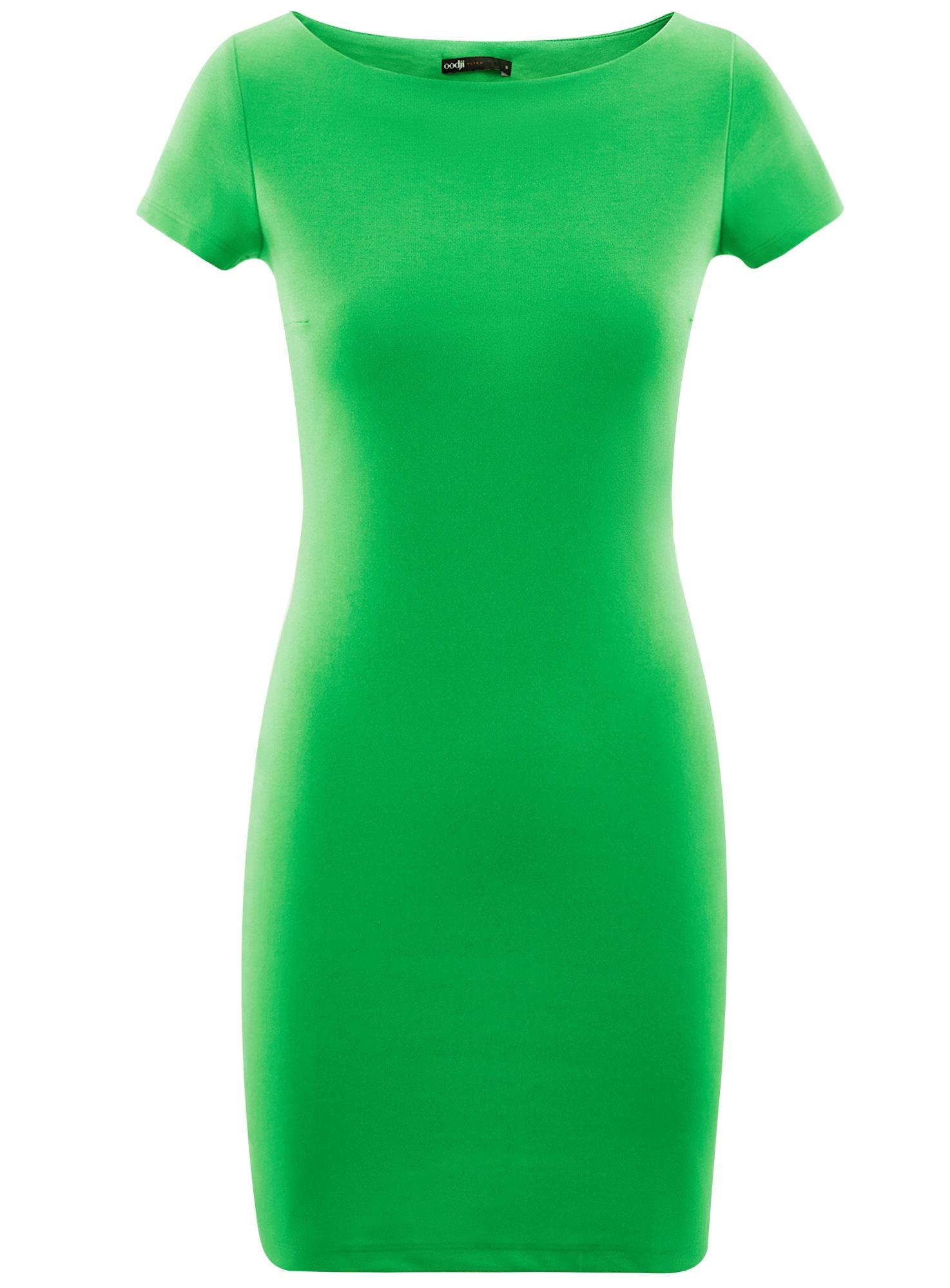 Платье трикотажное с вырезом-лодочкой oodji для женщины (зеленый), 14001117-2B/16564/6A00N