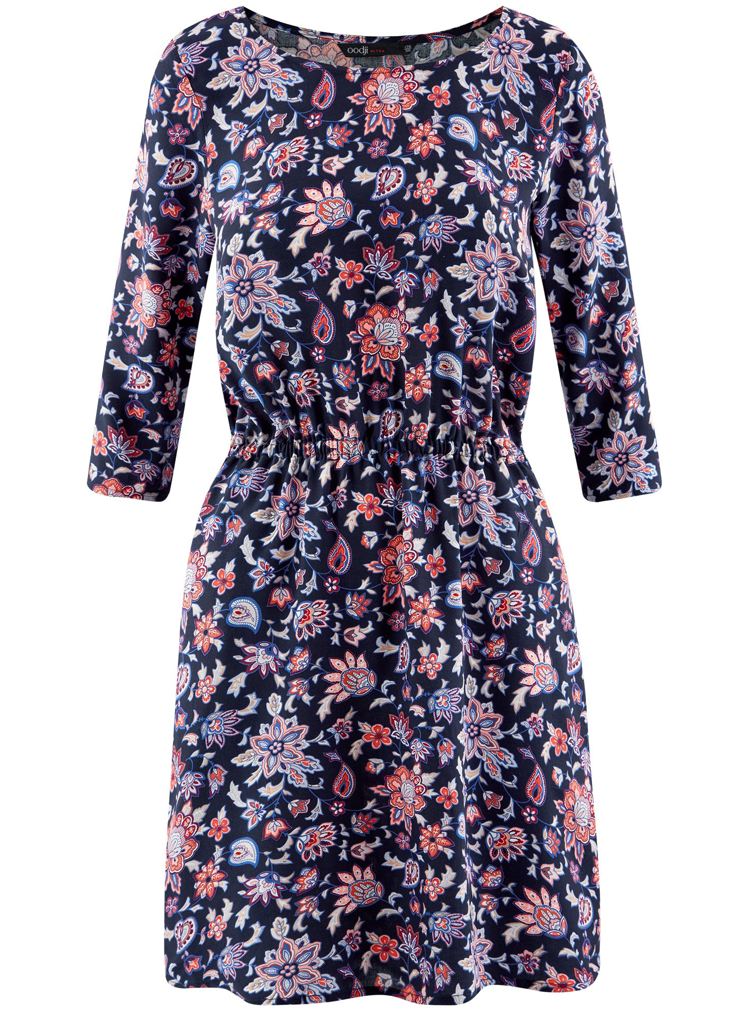 Платье вискозное с рукавом 3/4 oodji для женщины (синий), 11901153-1B/42540/7945F