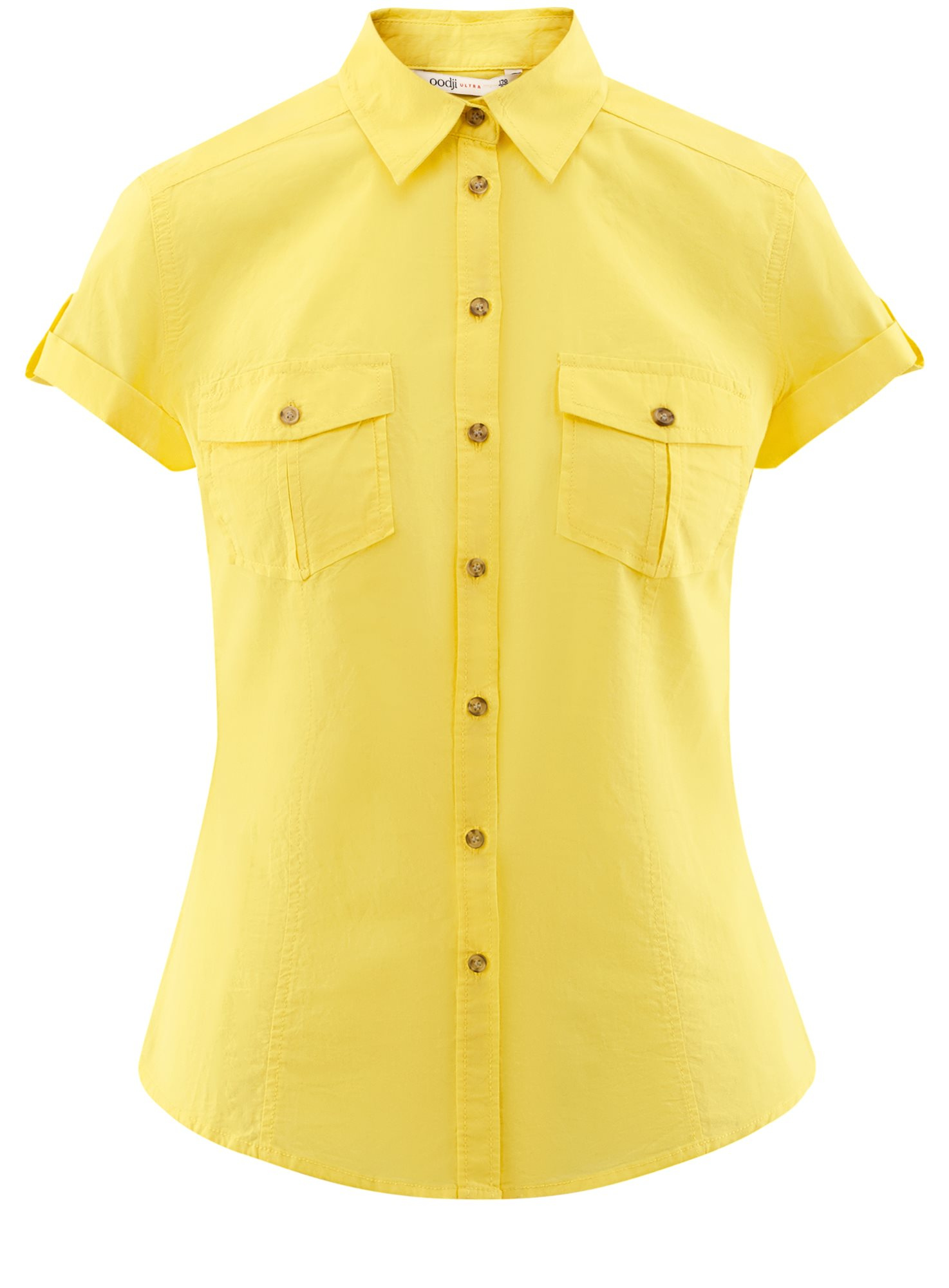 Рубашка базовая с коротким рукавом oodji для женщины (желтый), 11402084-5B/45510/5200N