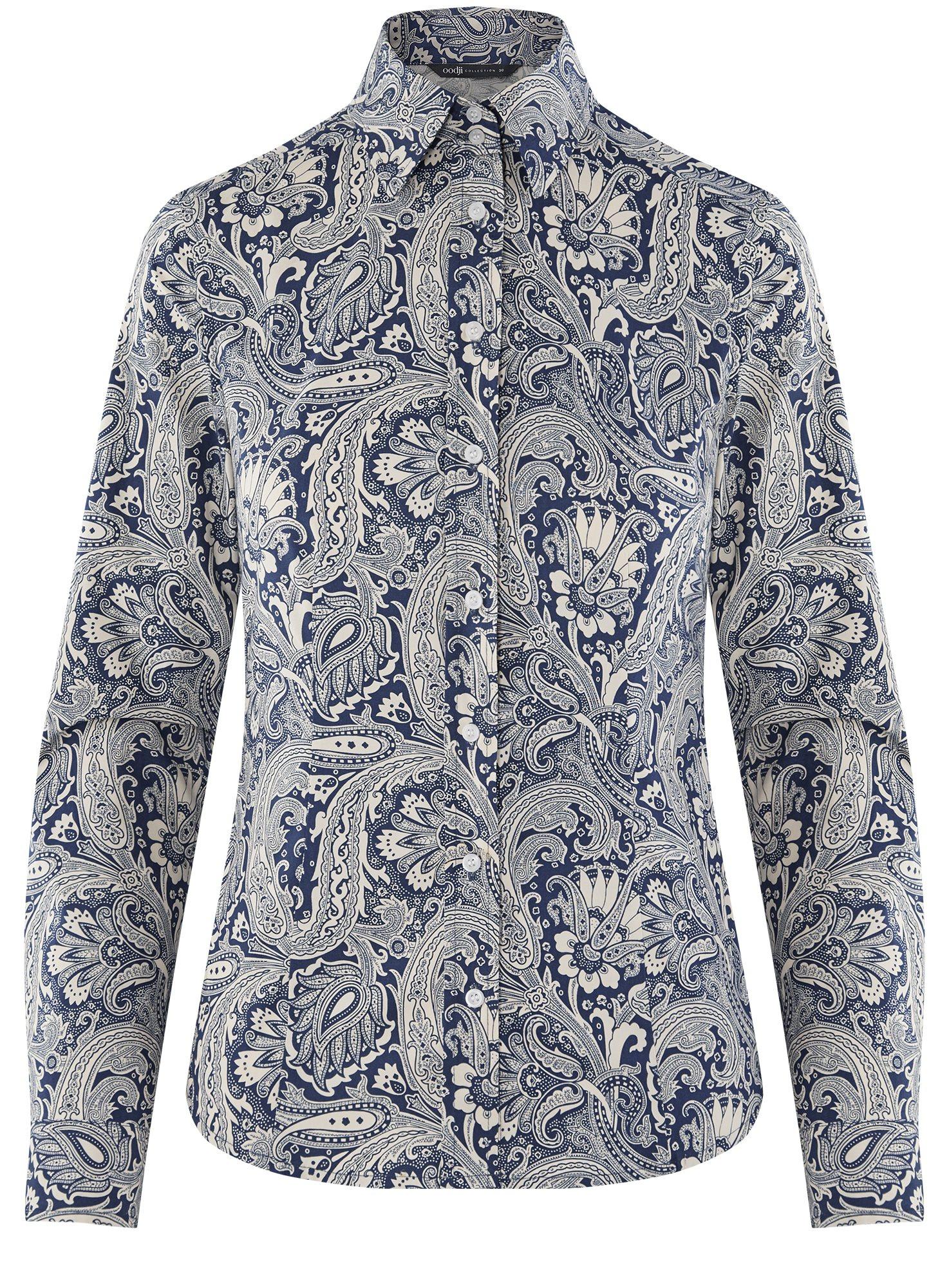 Рубашка приталенная принтованная oodji для женщины (синий), 21402212/14885/7530E