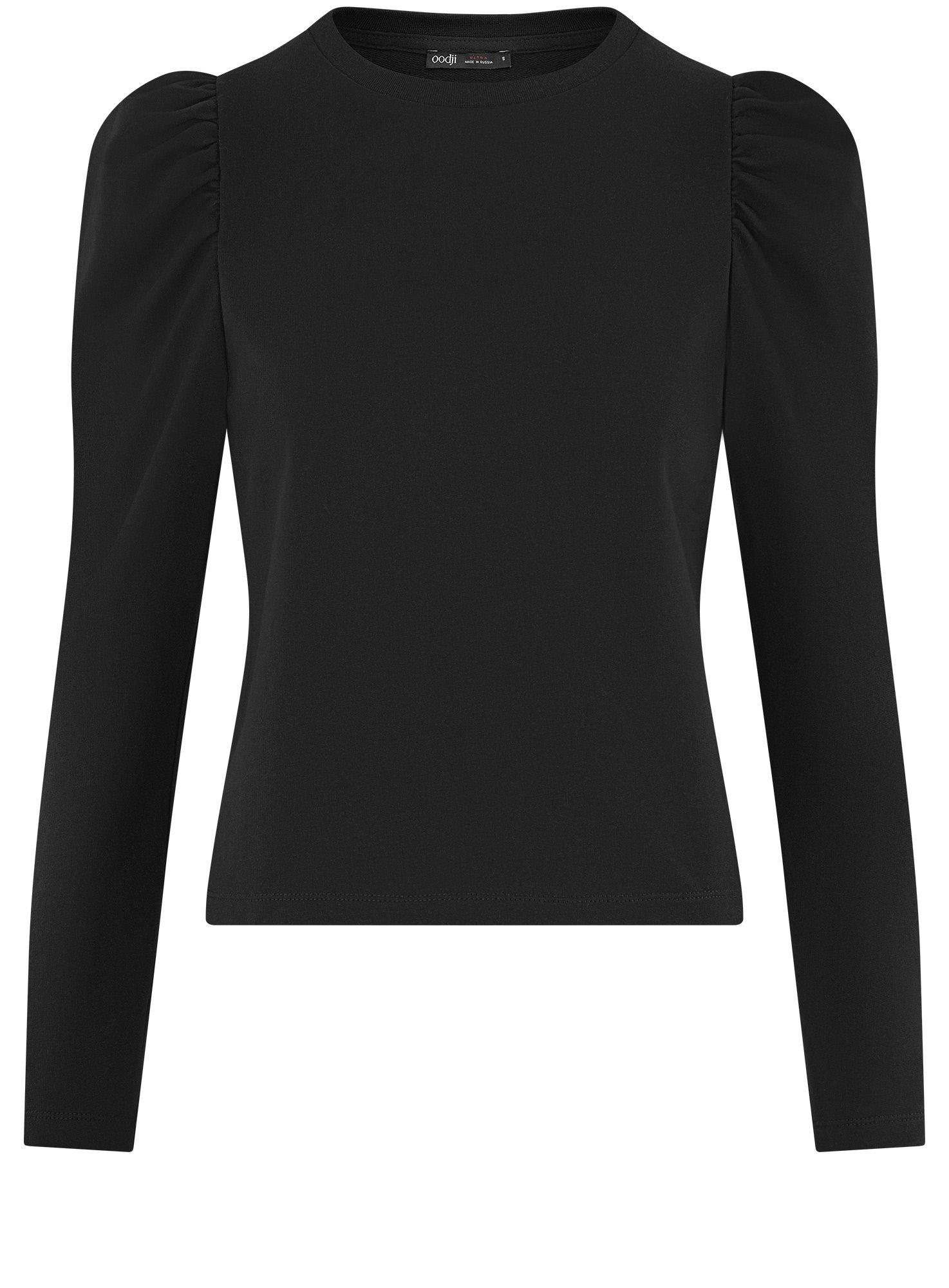 Лонгслив с рукавами-фонариками oodji для женщины (черный), 14801087-1/46738N/2900N