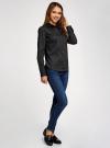 Рубашка базовая с одним карманом oodji для женщины (черный), 11403205-7/26357/2910D - вид 6