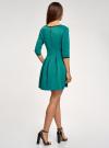 Платье трикотажное со складками на юбке oodji для женщины (зеленый), 14001148-1/33735/6D00N - вид 3