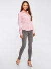 Рубашка приталенная с V-образным вырезом oodji для женщины (розовый), 11402092B/42083/4000N - вид 6
