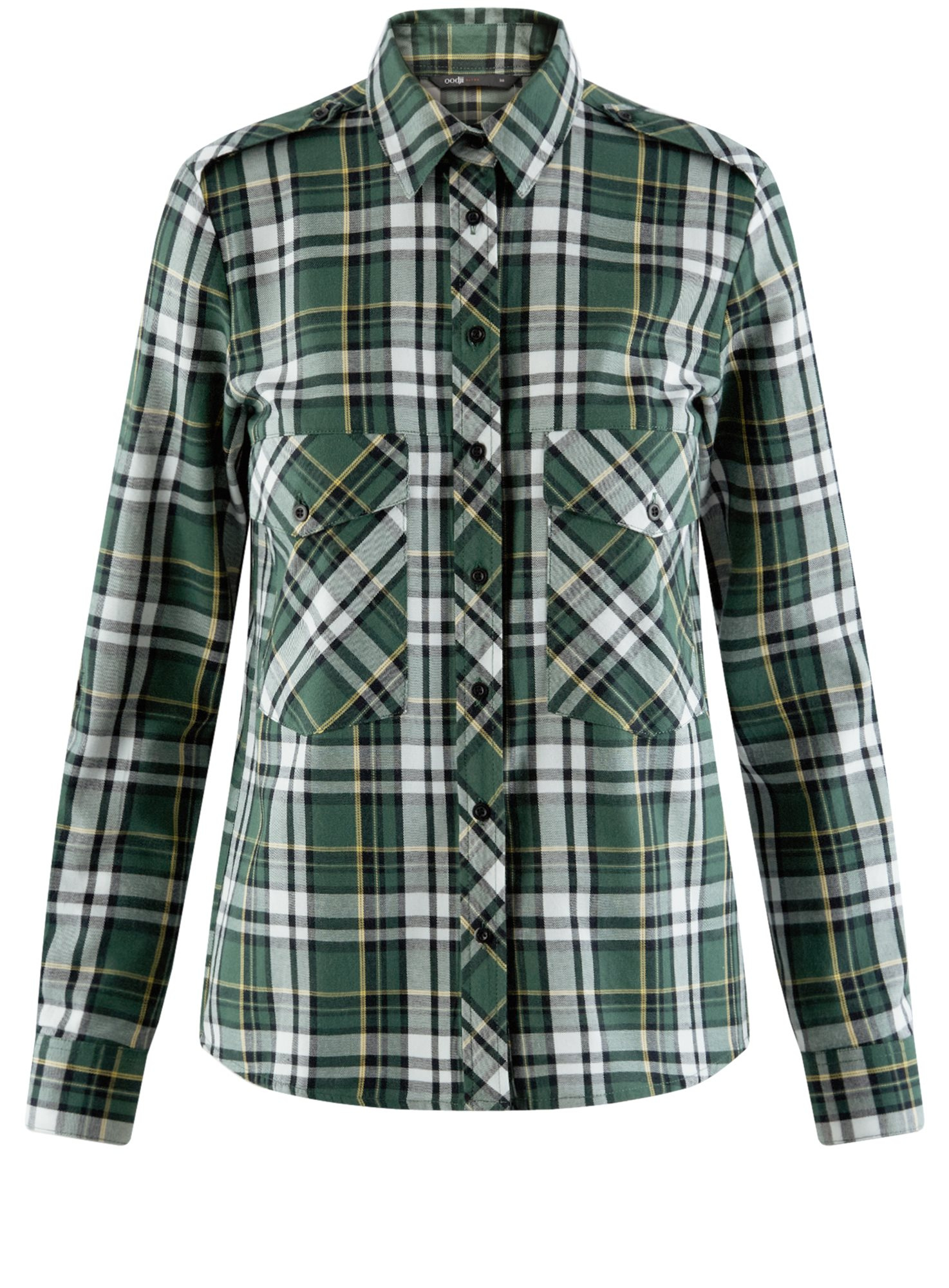 Рубашка хлопковая с нагрудными карманами oodji для женщины (зеленый), 11411052-1B/42850/6929C