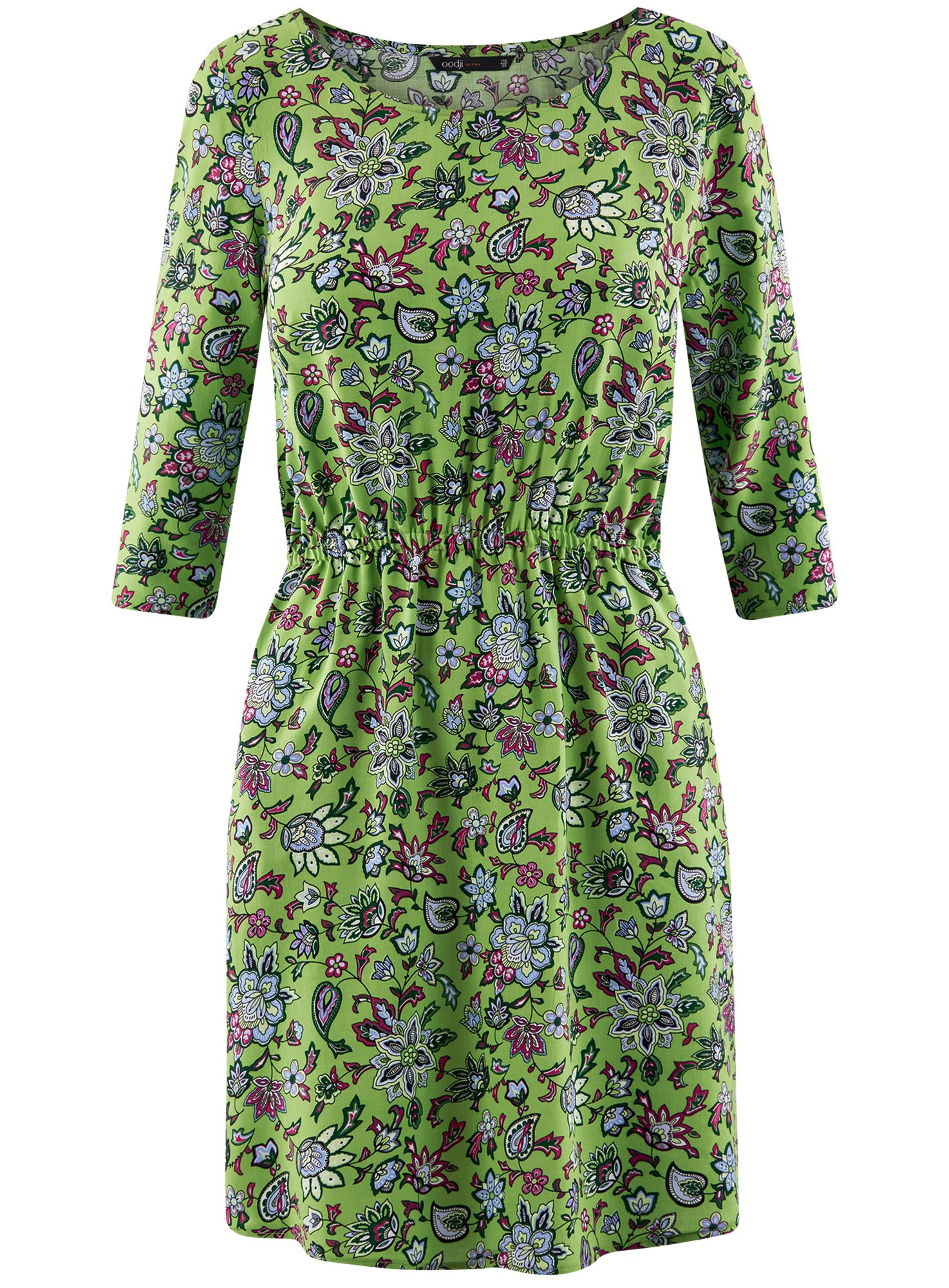 Платье вискозное с рукавом 3/4 oodji для женщины (зеленый), 11901153-1B/42540/6A4CF
