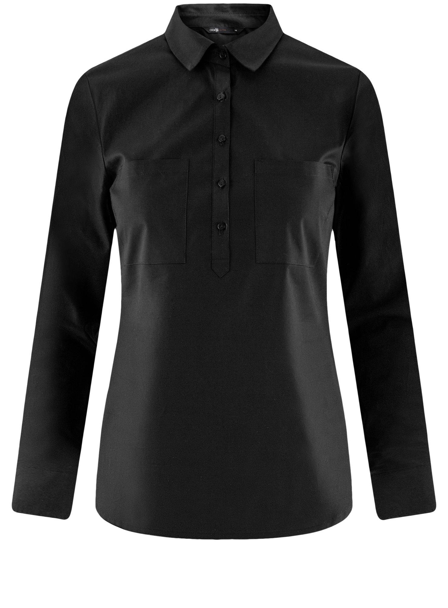 Рубашка базовая с нагрудными карманами oodji для женщины (черный), 11403222B/42468/2900N