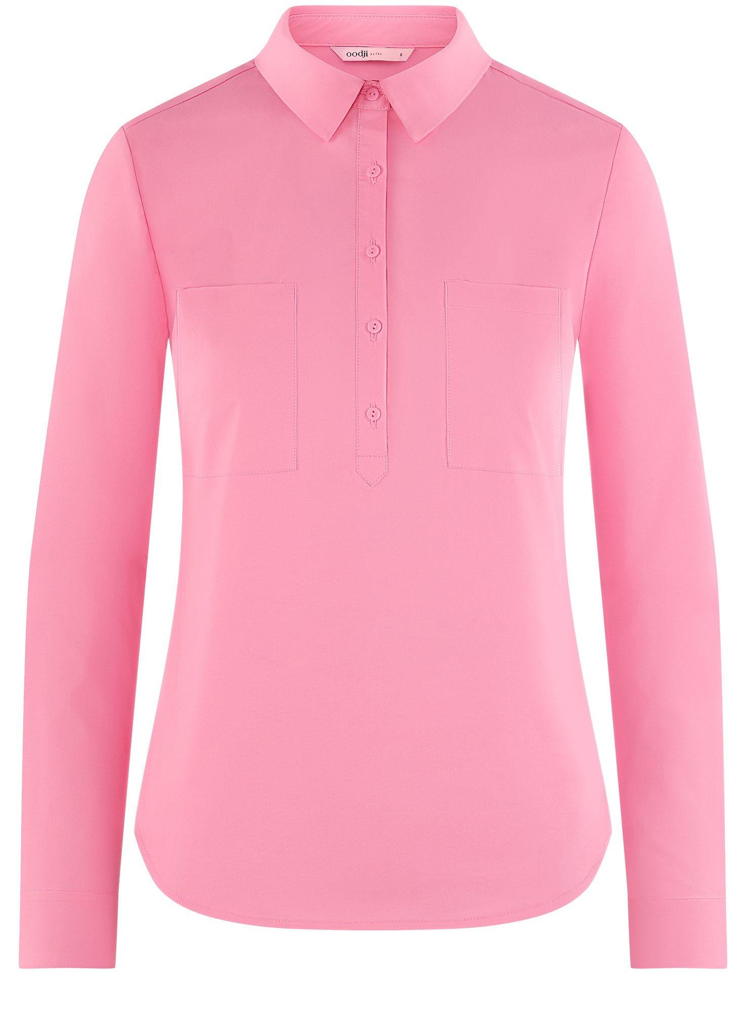 Рубашка базовая с нагрудными карманами oodji для женщины (розовый), 11403222B/42468/4100N