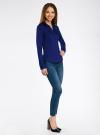 Рубашка приталенная с V-образным вырезом oodji для женщины (синий), 11402092B/42083/7500N - вид 6