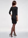 Платье из фактурной ткани с рукавом 3/4 oodji для женщины (черный), 24001100-1/42316/2900N - вид 3