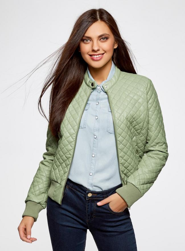 Куртка стеганая из искусственной кожи oodji для женщины (зеленый), 28A03001/45639/6000N