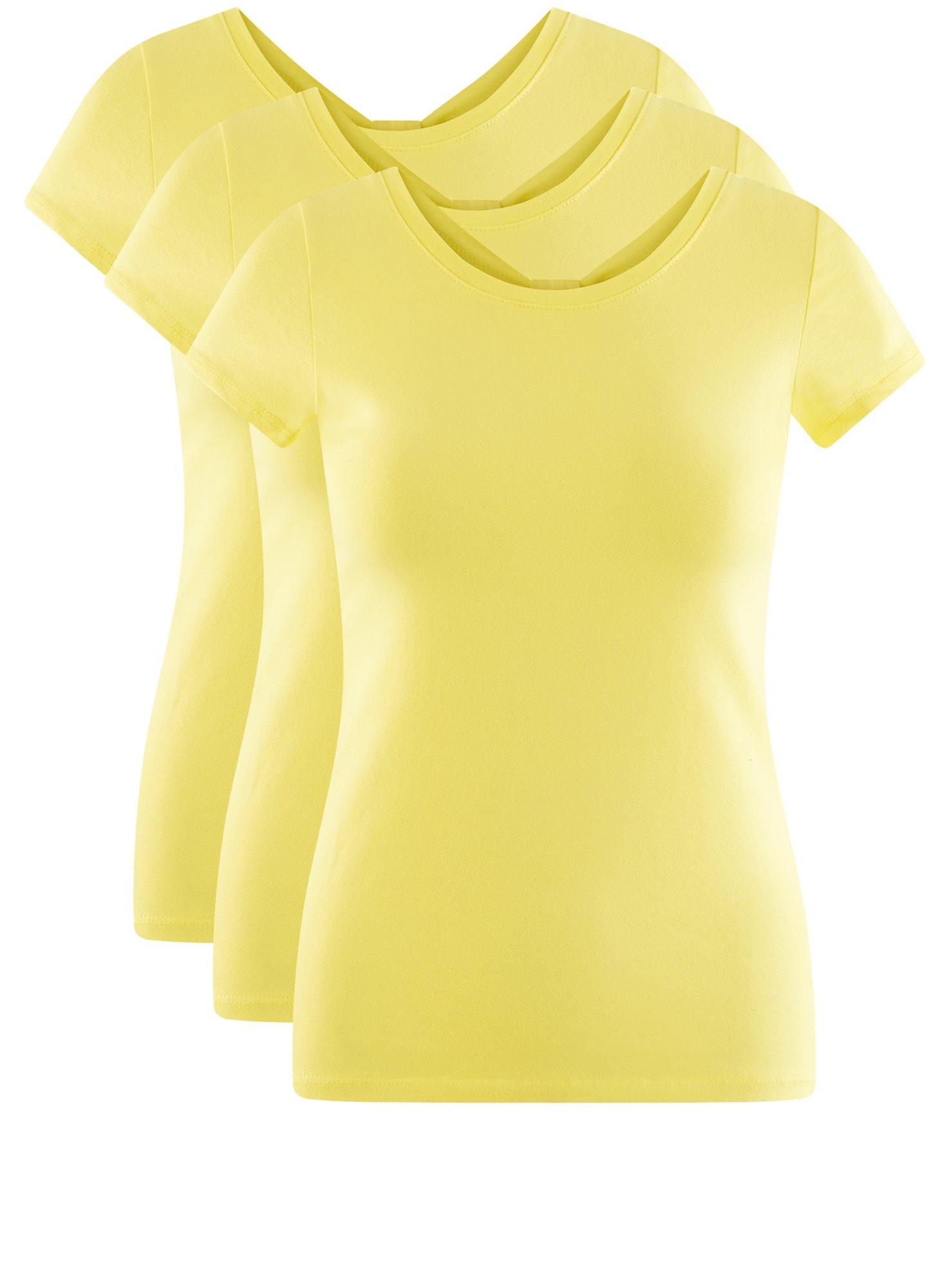 Комплект футболок с вырезом-капелькой на спине (3 штуки) oodji для женщины (желтый), 14701026T3/46147/6700N