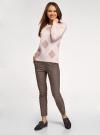 Джемпер вязаный с ромбами oodji для женщины (розовый), 63810238/50083/4035R - вид 6