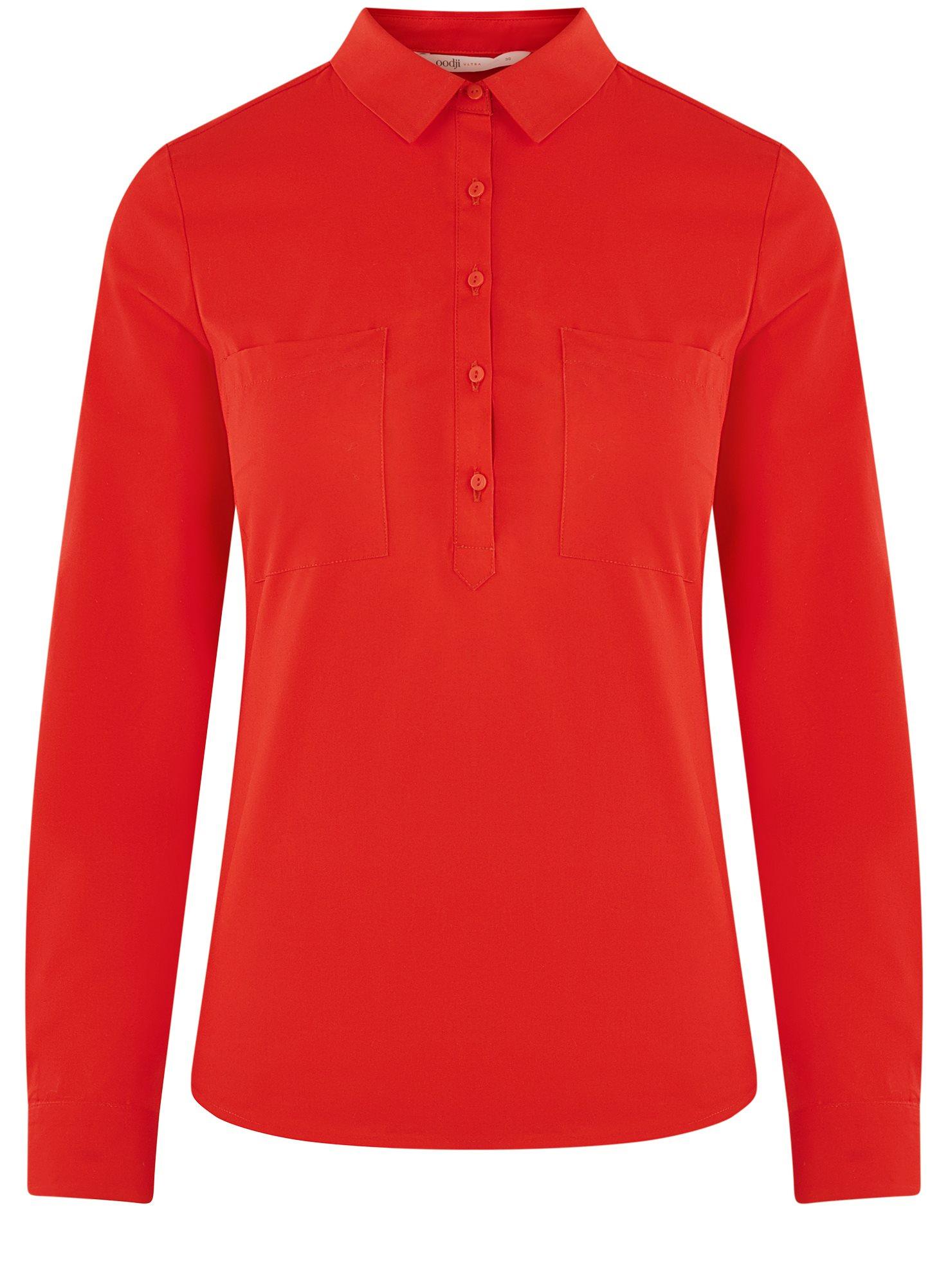 Рубашка базовая с нагрудными карманами oodji для женщины (красный), 11403222B/42468/4500N
