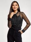 Блузка из прозрачной ткани с вышивкой oodji для женщины (черный), 11301528/49676/2912L - вид 2