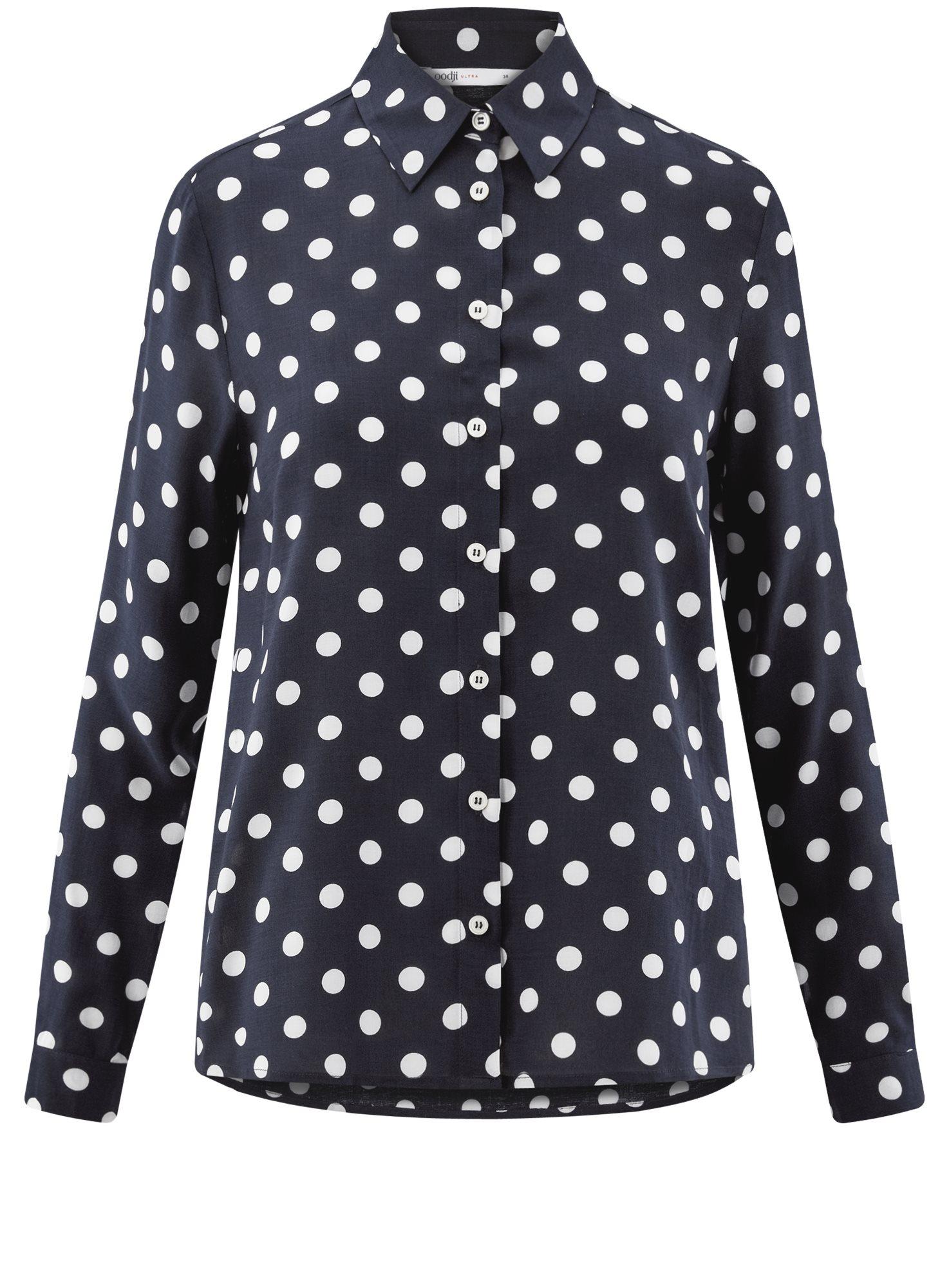 Блузка вискозная прямого силуэта oodji для женщины (синий), 11411098-3/24681/7912D