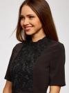 Платье с декоративной отделкой горловины и вставкой из кружева oodji для женщины (черный), 11913033/42250/2900N - вид 4