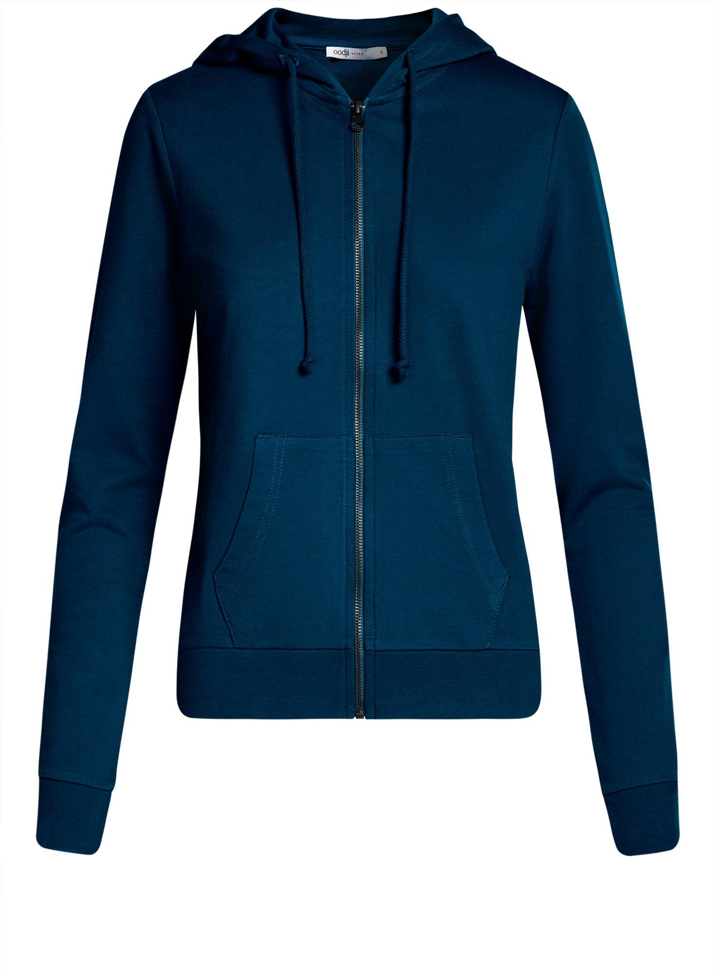 Толстовка с капюшоном и карманами oodji для женщины (синий), 16901079-2B/46934/7900N