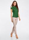 Рубашка с коротким рукавом из хлопка oodji для женщины (зеленый), 11403196-3/26357/6E00N - вид 6