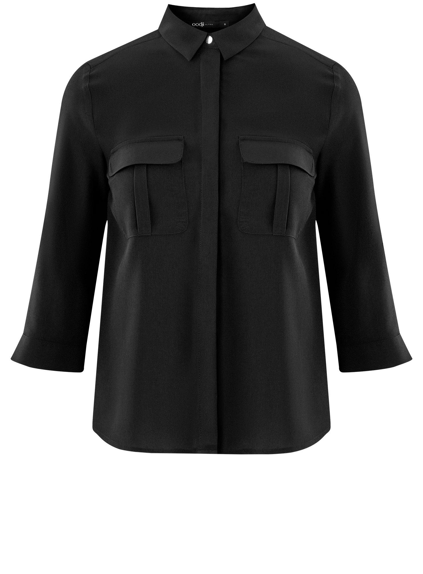 Блузка из струящейся ткани с нагрудными карманами oodji для женщины (черный), 11403225-6B/48853/2900N