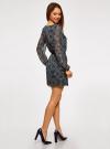 Платье из шифона с ремнем oodji для женщины (синий), 11900150-5/13632/7933E - вид 3