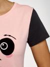 Пижама хлопковая с принтом oodji для женщины (розовый), 56002228/46158/4029P - вид 5