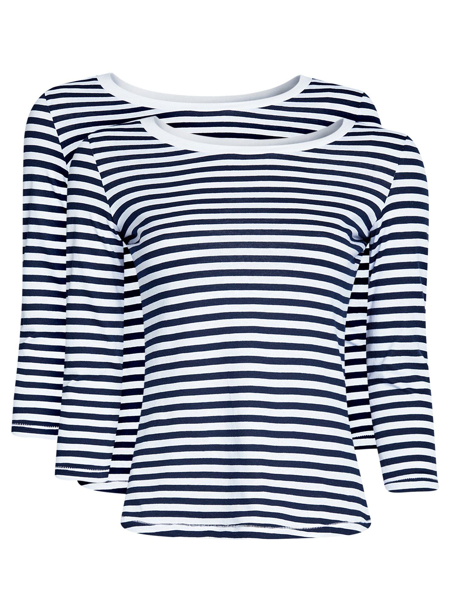 Комплект футболок с длинным рукавом (2 штуки) oodji для женщины (синий), 14201005T2/46158/7910S