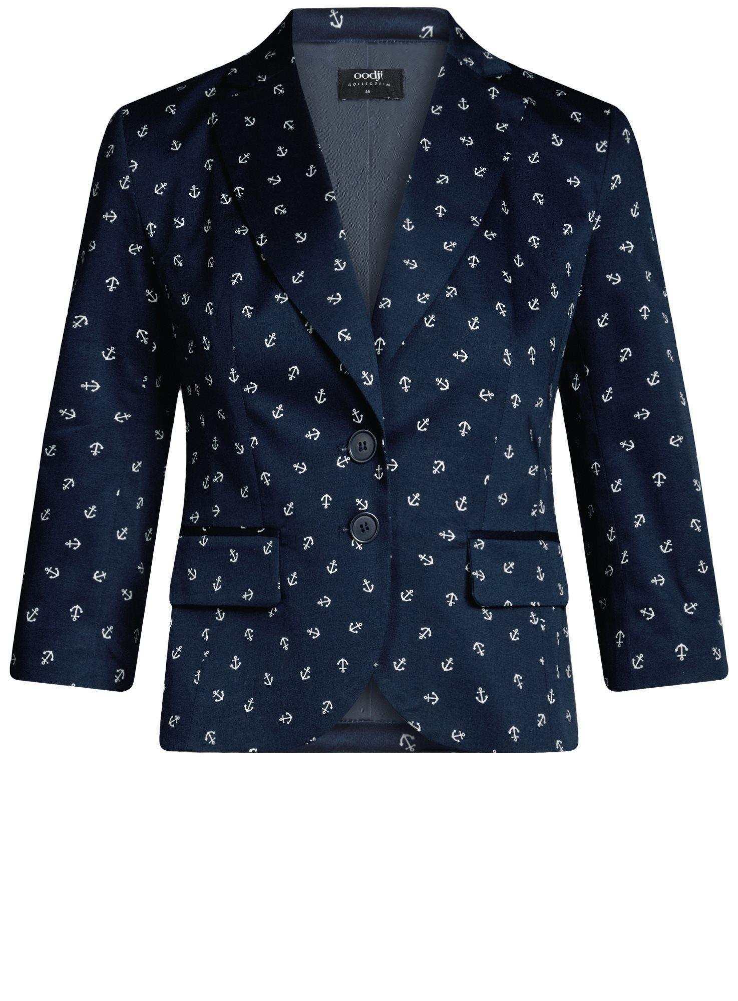 Жакет хлопковый приталенный oodji для женщины (синий), 21203085-1B/14522/7930O