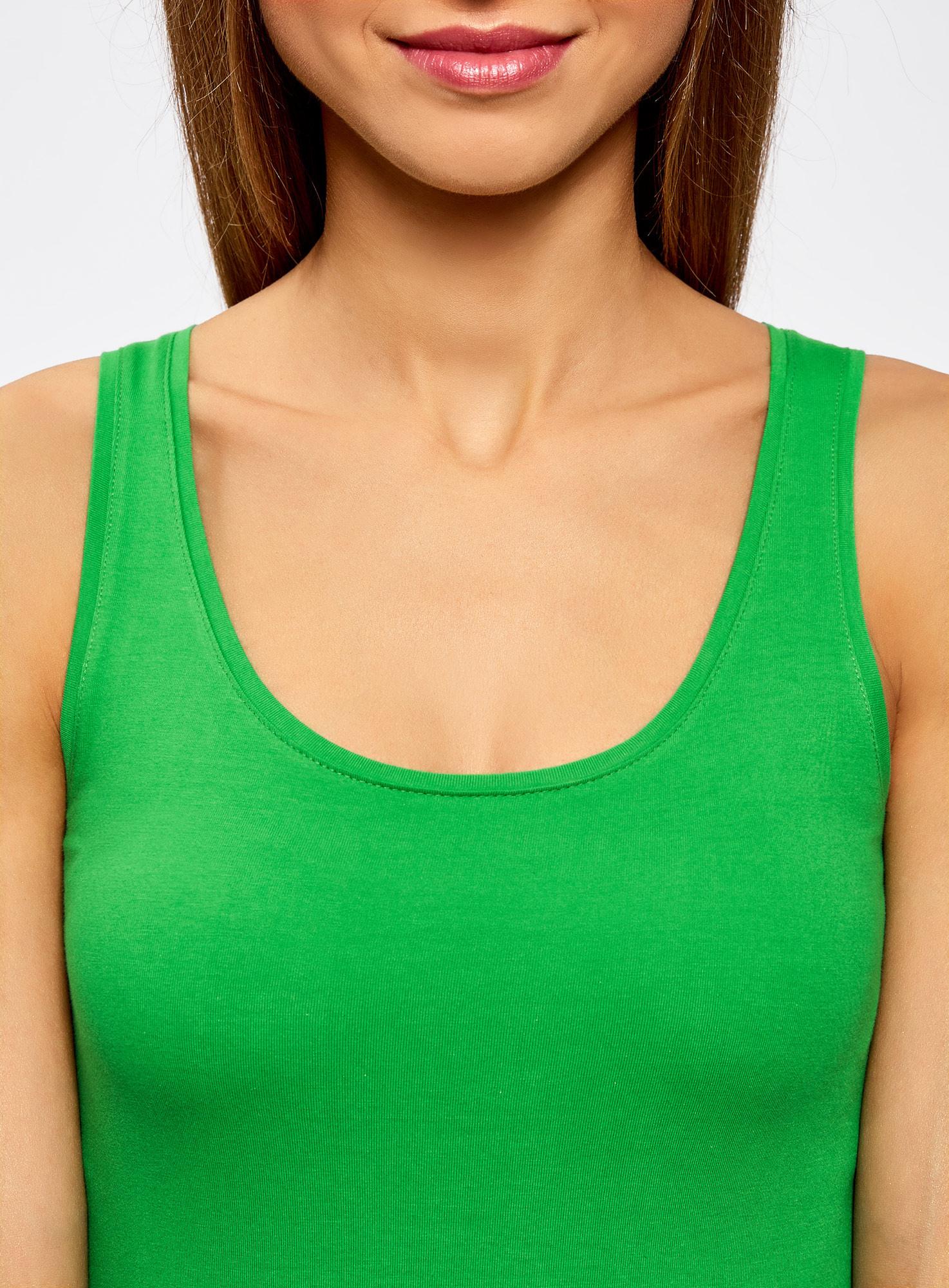 Майка базовая oodji для женщины (зеленый), 14315002B/46154/6A00N