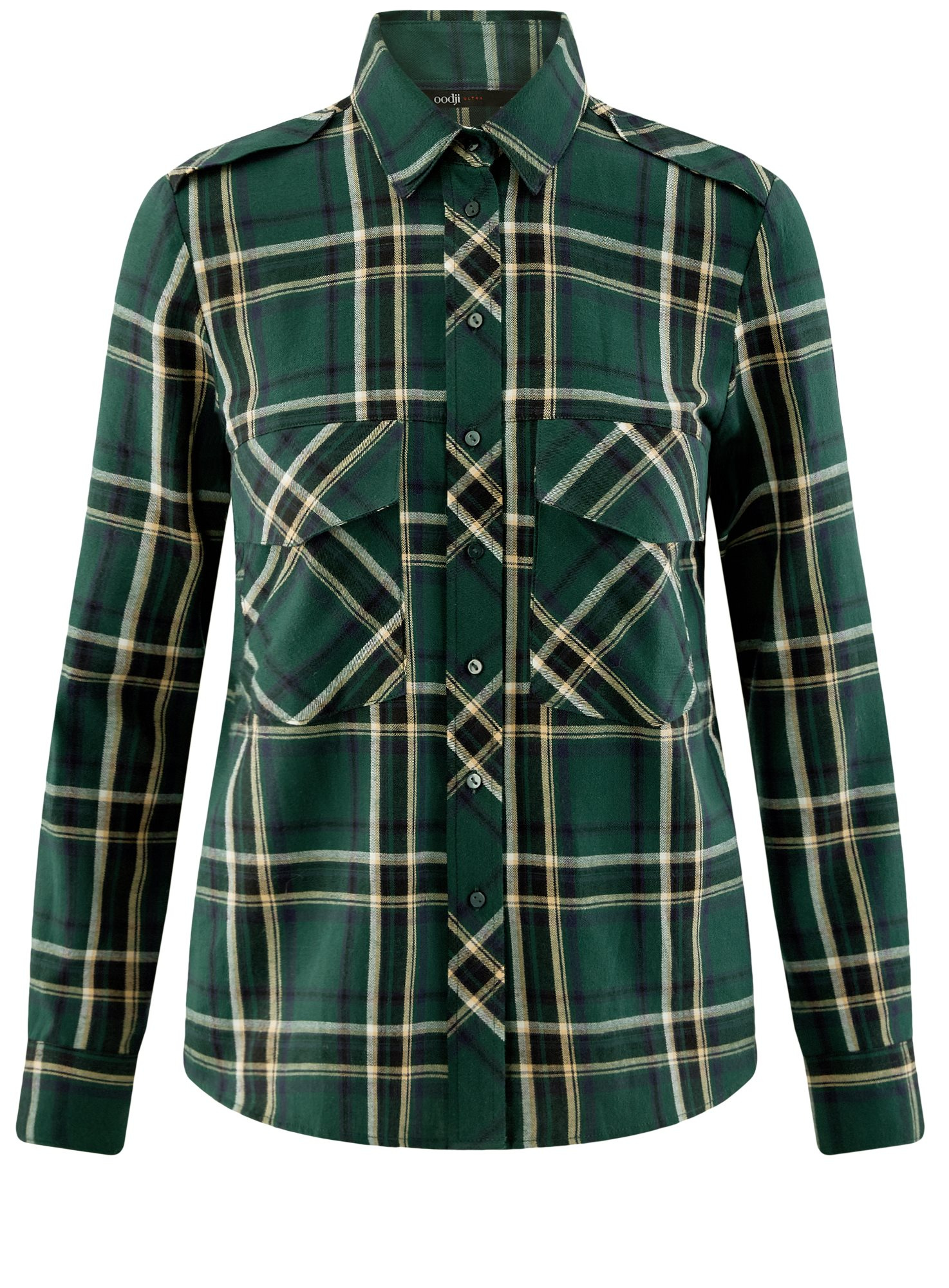 Рубашка в клетку с нагрудными карманами oodji для женщины (зеленый), 11411052-2/45624/6912C