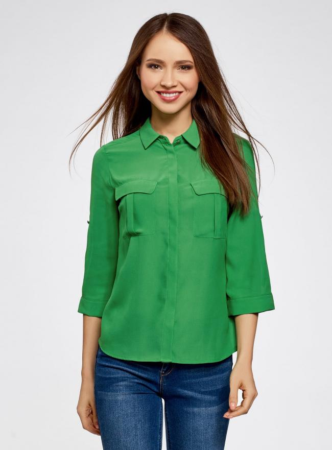 Блузка из струящейся ткани с регулировкой длины рукава oodji для женщины (зеленый), 11403225-1B/45227/6A00N
