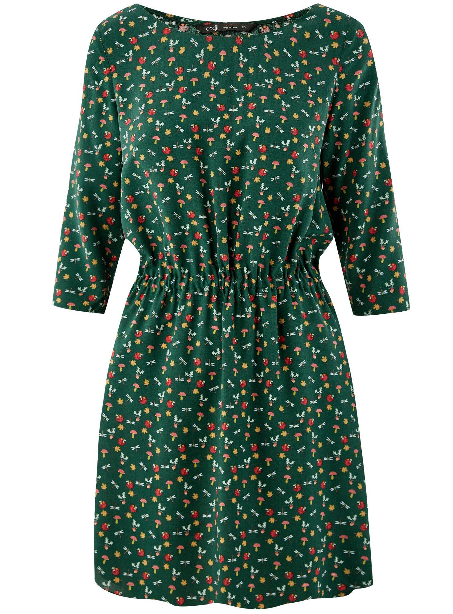 Платье вискозное с рукавом 3/4 oodji для женщины (зеленый), 11901153-1B/42540/6919O