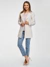 Пальто приталенное с косой застежкой oodji для женщины (слоновая кость), 10104044/45367/3000N - вид 6
