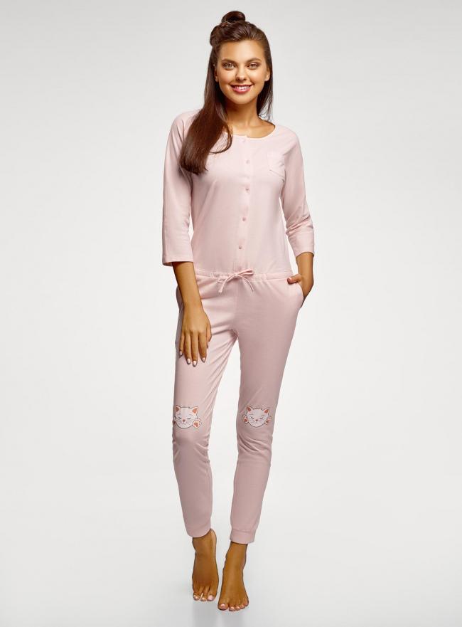 Комбинезон хлопковый с аппликацией oodji для женщины (розовый), 59809007/46154/4110P