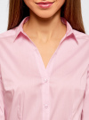 Рубашка приталенная с V-образным вырезом oodji для женщины (розовый), 11402092B/42083/4000N - вид 4