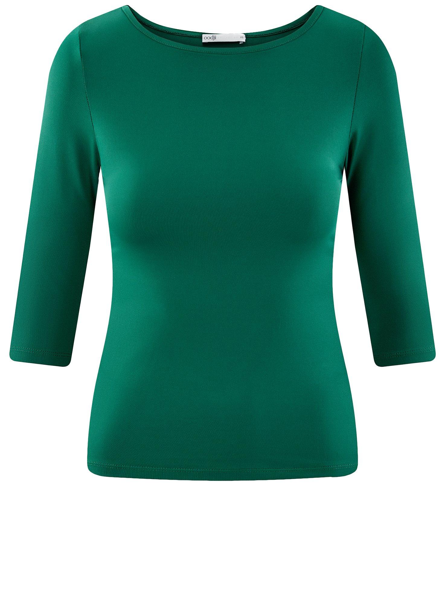 Футболка базовая с рукавом 3/4 oodji для женщины (зеленый), 24211001B/45297/6E00N
