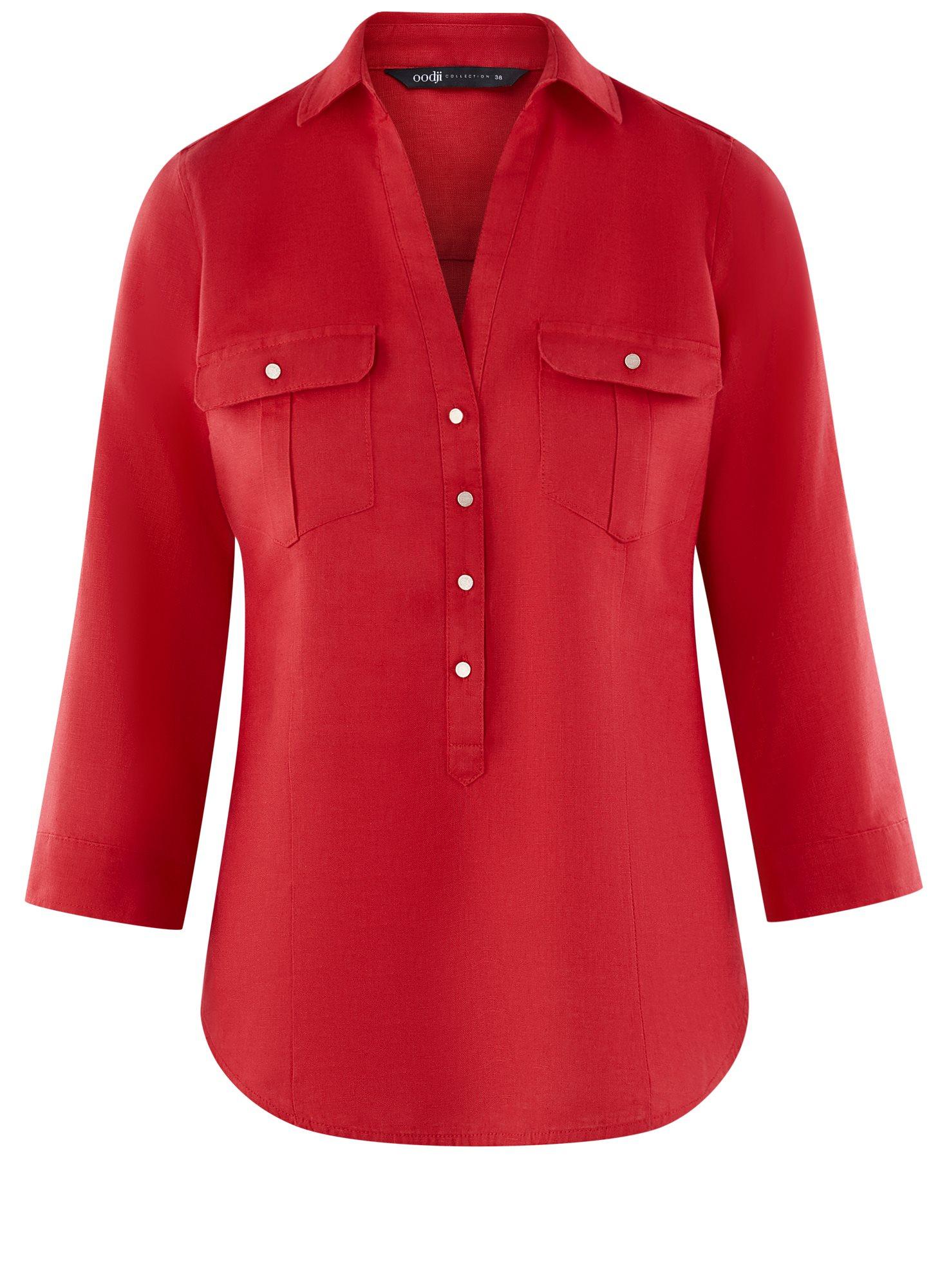 Блузка льняная с карманами oodji для женщины (красный), 21412145/42532/4500N