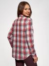 Рубашка в клетку с карманами oodji для женщины (красный), 11411052/42850/4533C - вид 3