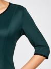 Платье трикотажное со складками на юбке oodji для женщины (зеленый), 14001148-1/33735/6E00N - вид 5