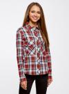 Рубашка хлопковая с нагрудными карманами oodji для женщины (красный), 11411052-1B/42850/4512C - вид 2