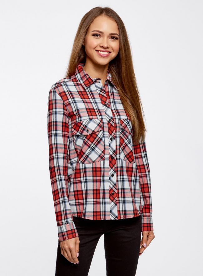 Рубашка хлопковая с нагрудными карманами oodji для женщины (красный), 11411052-1B/42850/4512C
