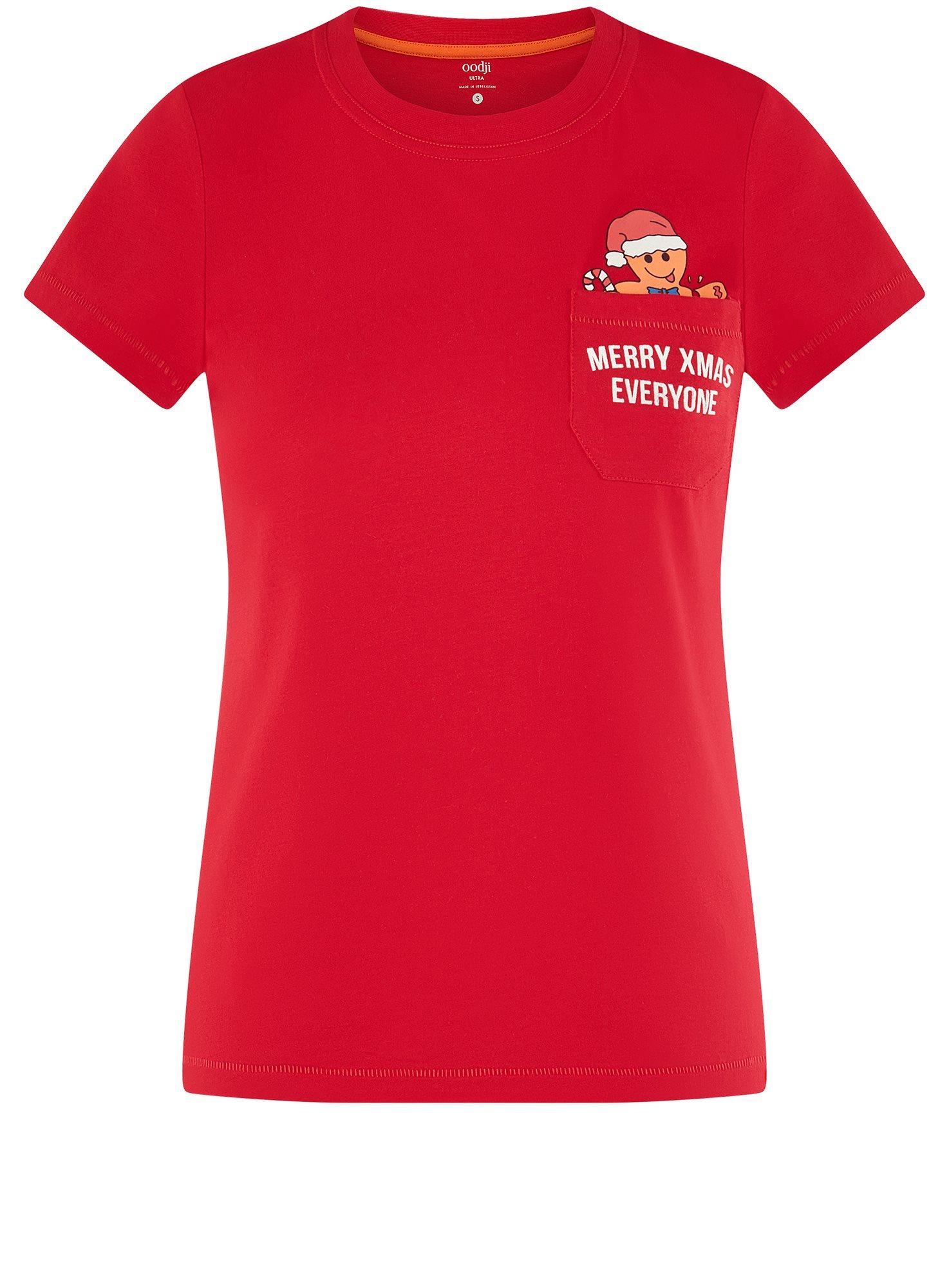 Футболка хлопковая с карманом на груди oodji для женщины (красный), 14701078-6/48369/4519P