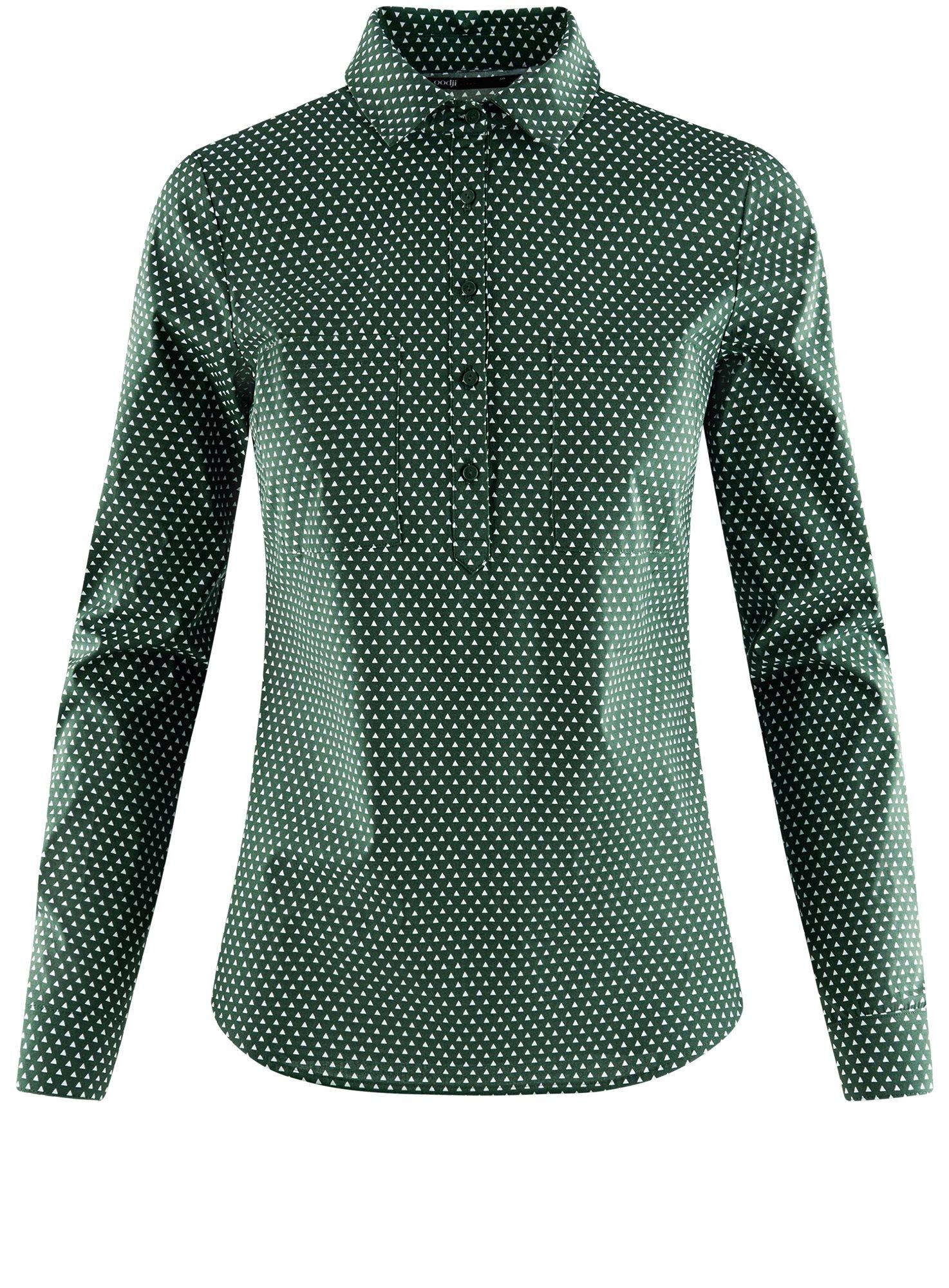 Рубашка базовая с нагрудными карманами oodji для женщины (зеленый), 11403222B/42468/6910G
