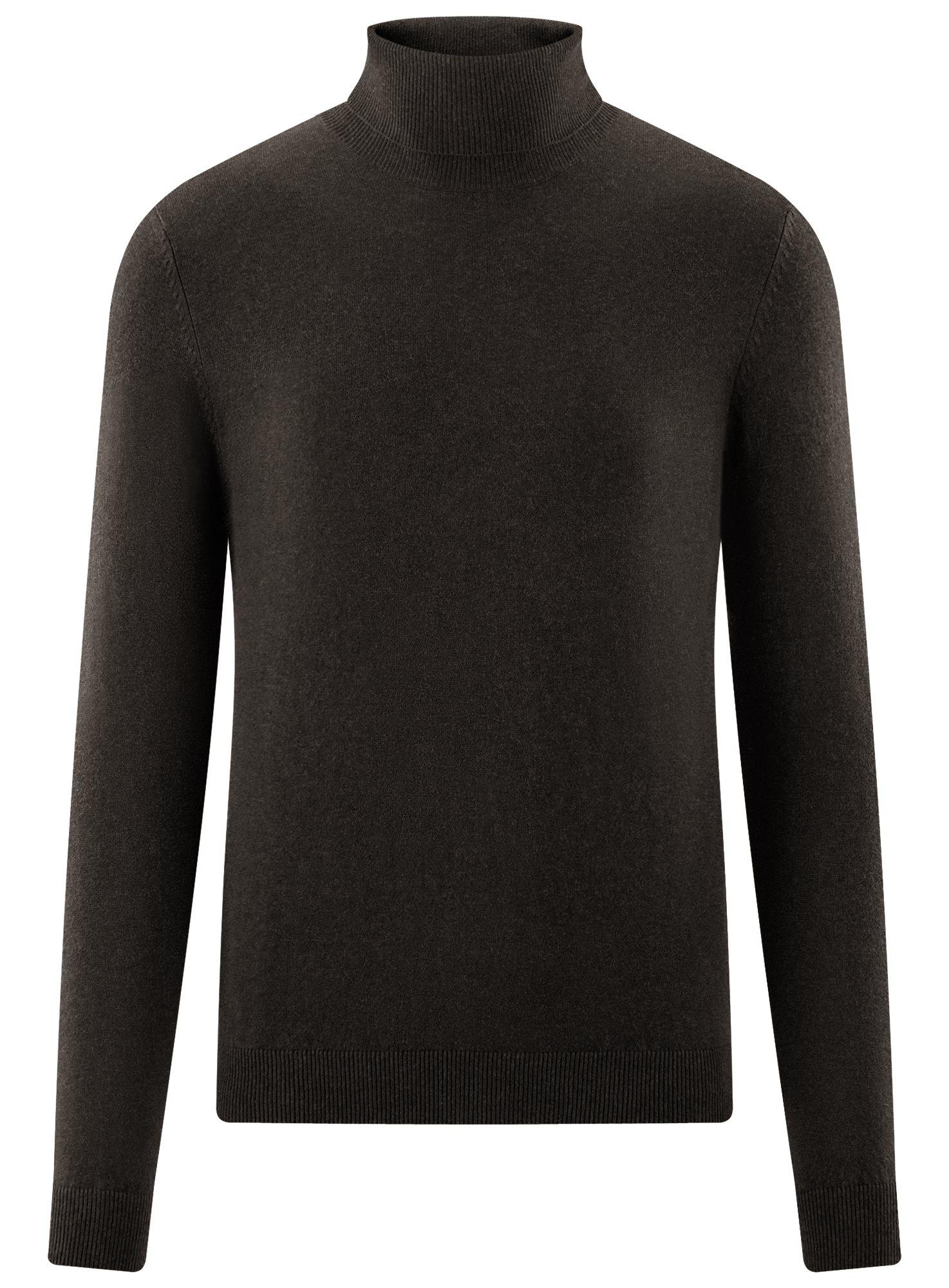 Свитер базовый из хлопка oodji для мужчины (коричневый), 4B312003M-1/34390N/3901M