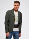 Пиджак приталенный с накладными карманами oodji для мужчины (зеленый), 2B510005M/39355N/6600N - вид 2