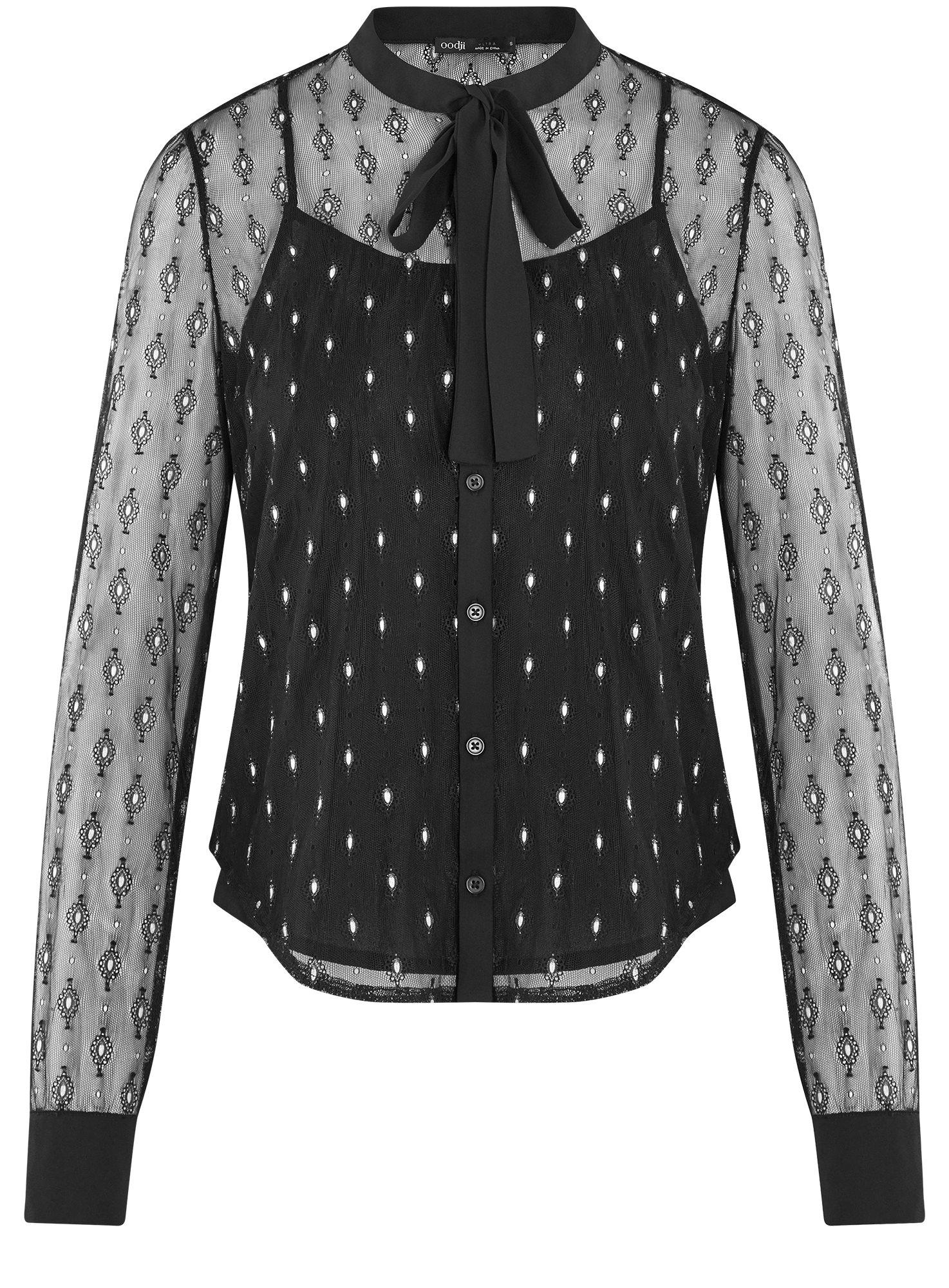 Блузка из прозрачной ткани с вышивкой oodji для женщины (черный), 11301528/49676/2912L